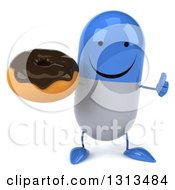 Clipart Of A 3d Happy Blue And White Pill Character Giving A Thumb Up And Holding A Chocolate Frosted Donut Royalty Free Illustration