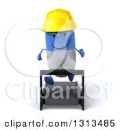 Clipart Of A 3d Happy Blue And White Pill Contractor Character Running On A Treadmill Royalty Free Illustration