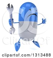 Clipart Of A 3d Unhappy Blue And White Pill Character Facing Slightly Right Jumping And Holding A Wrench Royalty Free Illustration