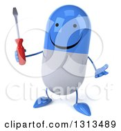 Clipart Of A 3d Happy Blue And White Pill Character Shrugging And Holding A Screwdriver Royalty Free Illustration