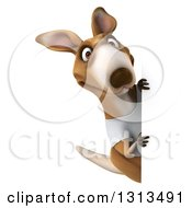 Clipart Of A 3d Kangaroo Wearing A White Tee Shirt And Looking Around A Sign Royalty Free Illustration