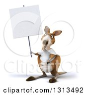 Clipart Of A 3d Kangaroo Wearing A White Tee Shirt And Holding A Blank Sign Royalty Free Illustration