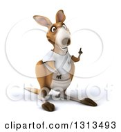 Clipart Of A 3d Kangaroo Wearing A White Tee Shirt Holding Up A Finger Royalty Free Illustration