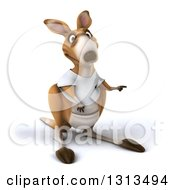 Clipart Of A 3d Kangaroo Wearing A White Tee Shirt And Pointing To The Right Royalty Free Illustration