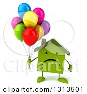 Clipart Of A 3d Unhappy Green House Character Holding Party Balloons Royalty Free Illustration