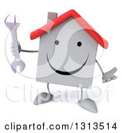 Clipart Of A 3d Happy White House Character Shrugging And Holding A Wrench Royalty Free Illustration