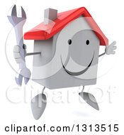 Clipart Of A 3d Happy White House Character Facing Slightly Right Jumping And Holding A Wrench Royalty Free Illustration