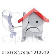 Clipart Of A 3d Unhappy White House Character Holding Up A Wrench Royalty Free Illustration