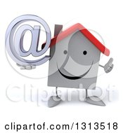 Clipart Of A 3d Happy White House Character Giving A Thumb Up And Holding An Email Arobase At Symbol Royalty Free Illustration