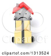 Clipart Of A 3d Unhappy White House Character Moving Boxes On A Dolly Royalty Free Illustration