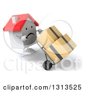 Clipart Of A 3d Unhappy White House Character Walking To The Left And Moving Boxes On A Dolly Royalty Free Illustration
