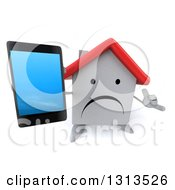 Clipart Of A 3d Unhappy White House Character Holding Up A Smart Phone And Gesturing Call Me Royalty Free Illustration