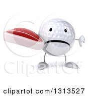 Clipart Of A 3d Unhappy Golf Ball Character Holding A Thumb Down And A Beef Steak Royalty Free Illustration