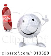 Clipart Of A 3d Happy Golf Ball Character Holding Up A Finger And A Soda Bottle Royalty Free Illustration