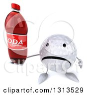 Clipart Of A 3d Unhappy Golf Ball Character Holding Up A Soda Bottle Royalty Free Illustration