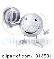Clipart Of A 3d Happy Golf Ball Character Shrugging And Holding An Email Arobase At Symbol Royalty Free Illustration