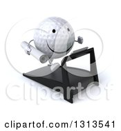Clipart Of A 3d Happy Golf Ball Character Facing Slightly Right And Running On A Treadmill With Blueprints Royalty Free Illustration