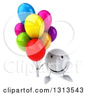 Clipart Of A 3d Happy Golf Ball Character Holding Up Party Balloons Royalty Free Illustration