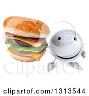 Clipart Of A 3d Happy Golf Ball Character Holding Up A Double Cheeseburger Royalty Free Illustration