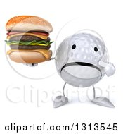 Clipart Of A 3d Unhappy Golf Ball Character Holding And Pointing To A Double Cheeseburger Royalty Free Illustration
