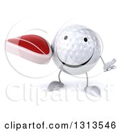Clipart Of A 3d Happy Golf Ball Character Shrugging And Holding A Beef Steak Royalty Free Illustration
