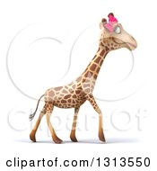 Clipart Of A 3d Female Giraffe Walking To The Right Royalty Free Illustration by Julos