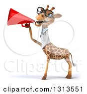 Clipart Of A 3d Bespectacled Doctor Or Veterinarian Giraffe Announcing To The Left With A Megaphone 2 Royalty Free Illustration
