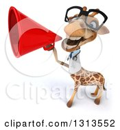 Clipart Of A 3d Bespectacled Doctor Or Veterinarian Giraffe Announcing Upwards With A Megaphone Royalty Free Illustration