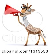 Clipart Of A 3d Bespectacled Doctor Or Veterinarian Giraffe Announcing To The Left With A Megaphone Royalty Free Illustration