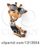 Clipart Of A 3d Business Giraffe Wearing Sunglasses And Looking Around A Sign 2 Royalty Free Illustration