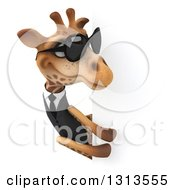 Clipart Of A 3d Business Giraffe Wearing Sunglasses And Looking Around A Sign Royalty Free Illustration
