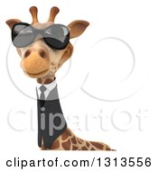Clipart Of A 3d Business Giraffe Wearing Sunglasses Over A Sign Royalty Free Illustration