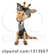 Clipart Of A 3d Business Giraffe Wearing Sunglasses Over A Sign 2 Royalty Free Illustration