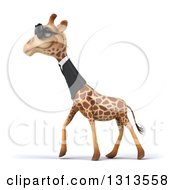 Clipart Of A 3d Business Giraffe Wearing Sunglasses And Walking To The Left Royalty Free Illustration