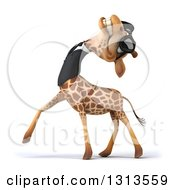 Clipart Of A 3d Business Giraffe Wearing Sunglasses And Tilting His Head Back Royalty Free Illustration