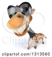 Clipart Of A 3d Business Giraffe Wearing Sunglasses And Smiling Upwards Royalty Free Illustration