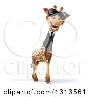 Clipart Of A 3d Business Giraffe Wearing Sunglasses And Walking Slightly To The Right Royalty Free Illustration