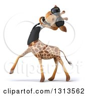 Clipart Of A 3d Business Giraffe Wearing Sunglasses Smiling And Tilting His Head Back Royalty Free Illustration
