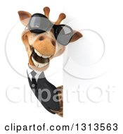 Clipart Of A 3d Business Giraffe Wearing Sunglasses And Looking Around A Sign 3 Royalty Free Illustration