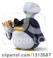 Clipart Of A 3d Penguin Chef Wearing Sunglasses Facing Slightly Left And Holding French Fries Royalty Free Illustration