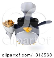 Clipart Of A 3d Penguin Chef Wearing Sunglasses Flying And Holding French Fries Royalty Free Illustration