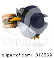 Clipart Of A 3d Penguin Wearing Sunglasses Flying To The Left And Holding A Double Cheeseburger Royalty Free Illustration