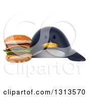 Clipart Of A 3d Penguin Holding A Double Cheeseburger Over A Sign Royalty Free Illustration