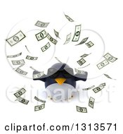 Clipart Of A 3d Penguin Wearing Sunglasses Looking Up And Making It Rain Money Royalty Free Illustration