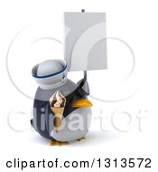 Clipart Of A 3d Penguin Sailor Wearing Sunglasses Facing Right Holding A Waffle Ice Cream Cone And A Blank Sign Royalty Free Illustration