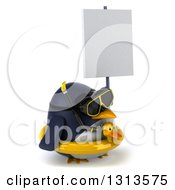 Clipart Of A 3d Penguin Wearing Snorkel Gear And An Inner Tube Facing Right And Holding A Blank Sign Royalty Free Illustration