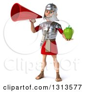 Clipart Of A 3d Young Male Roman Legionary Soldier Holding A Green Bell Pepper And Using A Megaphone Royalty Free Illustration