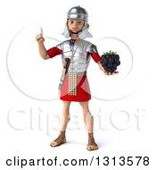 Clipart Of A 3d Young Male Roman Legionary Soldier Holding Up A Finger And A Blackberry Royalty Free Illustration