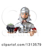 Clipart Of A 3d Young Male Roman Legionary Soldier Holding A Blackberry Over A Sign Royalty Free Illustration