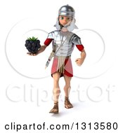 Clipart Of A 3d Young Male Roman Legionary Soldier Walking And Holding A Blackberry Royalty Free Illustration